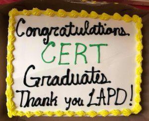 Congratulations Cert graduates Thank you LAPD cake