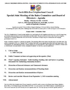 thumbnail of Special Rules Mtg Joint Agenda February 10, 2020